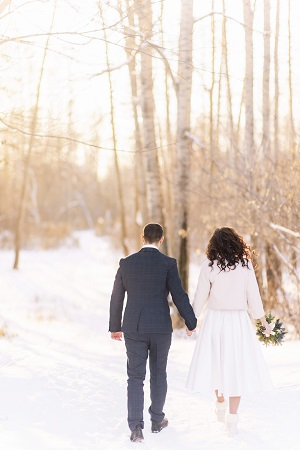 Couple in snowy forest