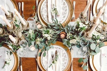 Whimsical winter table decoration